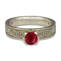 Extra Narrow Labyrinth Engagement Ring with Gems in Ruby