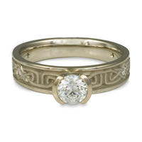 Extra Narrow Labyrinth Engagement Ring with Gems in Diamond