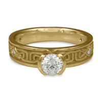 Extra Narrow Labyrinth Engagement Ring with Gems in 14K Yellow Gold