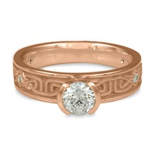 Extra Narrow Labyrinth Engagement Ring with Gems in 18K Rose Gold