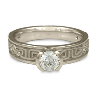 Extra Narrow Labyrinth Engagement Ring with Gems in Platinum