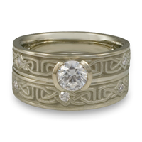 Extra Narrow Labyrinth Bridal Ring Set with Gems in Diamond