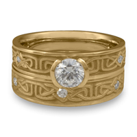 Extra Narrow Labyrinth Bridal Ring Set with Gems in 14K Yellow Gold