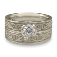 Extra Narrow Labyrinth Bridal Ring Set with Gems in Platinum
