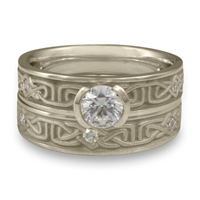 Extra Narrow Labyrinth Bridal Ring Set with Gems in Palladium