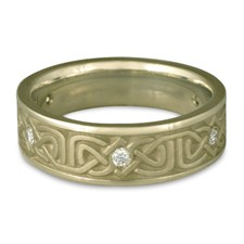 Narrow Labyrinth Wedding Ring with Gems in 18K White Gold