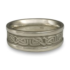 Extra Narrow Self Bordered Labyrinth Wedding Ring in 14K White Gold
