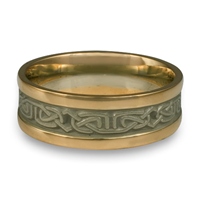 Extra Narrow Two Tone Labyrinth Wedding Ring in 14K Gold Yellow Borders/White Center Design
