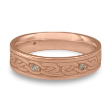 Narrow Infinity Wedding Ring with Gems in 14K Rose Gold