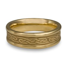 Narrow Self Bordered Infinity Wedding Ring in 14K Yellow Gold