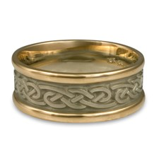 Narrow Two Tone Infinity Wedding Ring in 14K Yellow Gold Borders w 14K White Gold Center