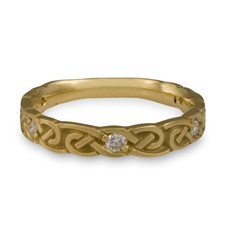 Narrow Borderless Infinity Wedding Ring with Gems  in 14K Yellow Gold