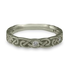 Narrow Borderless Infinity Wedding Ring with Gems  in Diamond