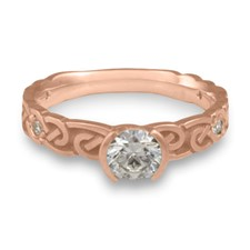 Narrow Borderless Infinity Engagement Ring with Gems in 14K Rose Gold