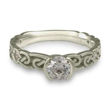 Narrow Borderless Infinity Engagement Ring with Gems in Platinum