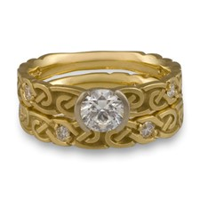 Narrow Borderless Infinity Bridal Ring Set with Gems in 14K Yellow Gold