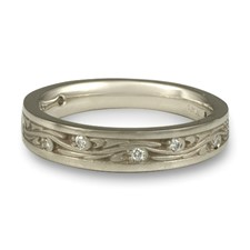 Extra Narrow Starry Night Wedding Ring with Gems  in Diamond