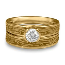 Extra Narrow Starry Night Bridal Ring Set in 14K Yellow Gold