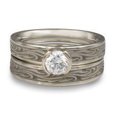 Extra Narrow Starry Night Bridal Ring Set in Palladium