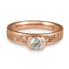 Extra Narrow Starry Night Engagement Ring with Gems  in 18K Rose Gold