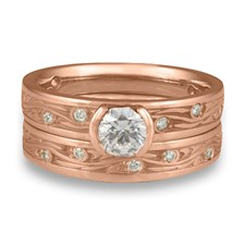 Extra Narrow Starry Night Bridal Ring Set with Gems  in 14K Rose Gold