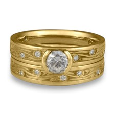 Extra Narrow Starry Night Bridal Ring Set with Gems  in 18K Yellow Gold