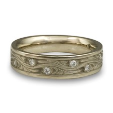 Narrow Starry Night Wedding Ring with Gems  in 14K White Gold