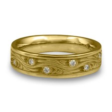 Narrow Starry Night Wedding Ring with Gems  in 14K Yellow Gold