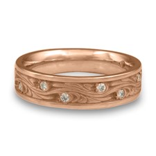Narrow Starry Night Wedding Ring with Gems  in 18K Rose Gold