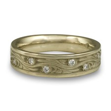 Narrow Starry Night Wedding Ring with Gems  in 18K White Gold