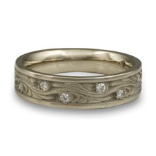 Narrow Starry Night Wedding Ring with Gems  in Palladium