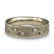 Narrow Starry Night Wedding Ring with Gems  in Platinum