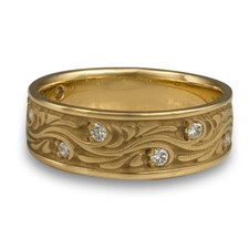 Wide Starry Night Wedding Ring with Gems  in 14K Yellow Gold