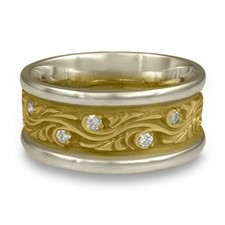 Wide Two Tone Starry Night Wedding Ring with Gems in 18K Gold White  Borders/Yellow Center Design