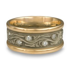 Wide Two Tone Starry Night Wedding Ring with Gems in 14K Yellow Gold Borders w 14K White Gold Center