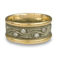 Wide Two Tone Starry Night Wedding Ring with Gems in 18K Gold Yellow Borders/White Center Design