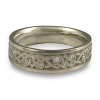 Narrow Celtic Hearts Wedding Ring with Gems  in Diamond