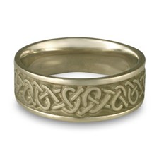 Wide Celtic Hearts Wedding Ring in 14K White Gold