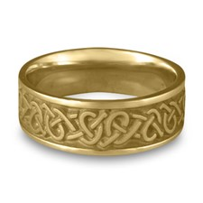 Wide Celtic Hearts Wedding Ring in 14K Yellow Gold