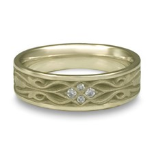 Narrow Tulip Braid Wedding Ring with Gems in 18K White Gold