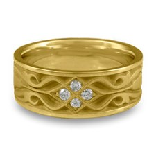 Wide Tulip Braid Wedding Ring with Gems in 18K Yellow Gold