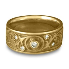 Wide Garden Gate Wedding Ring with Gems in 14K Yellow Gold