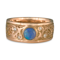Continuous Garden Gate Wedding Ring with Opal in Diamond
