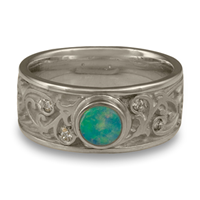 Continuous Garden Gate Wedding Ring with Opal in Palladium