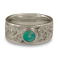 Continuous Garden Gate Wedding Ring with Opal in Platinum