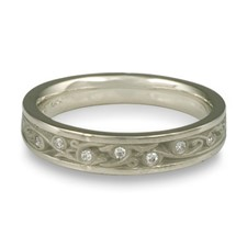 Extra Narrow Continuous Garden Gate Wedding Ring with Gems in Diamond