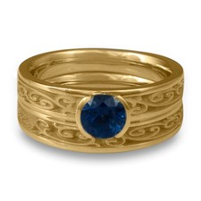 Extra Narrow Continuous Garden Gate Bridal Ring Set in Sapphire