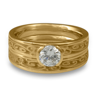 Extra Narrow Continuous Garden Gate Bridal Ring Set in 14K Yellow Gold