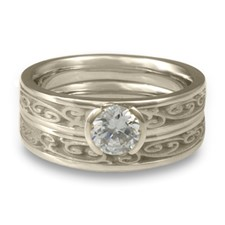 Extra Narrow Continuous Garden Gate Bridal Ring Set in Platinum