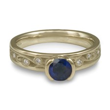 Extra Narrow Continuous Garden Gate Engagement Ring with Gems in Sapphire